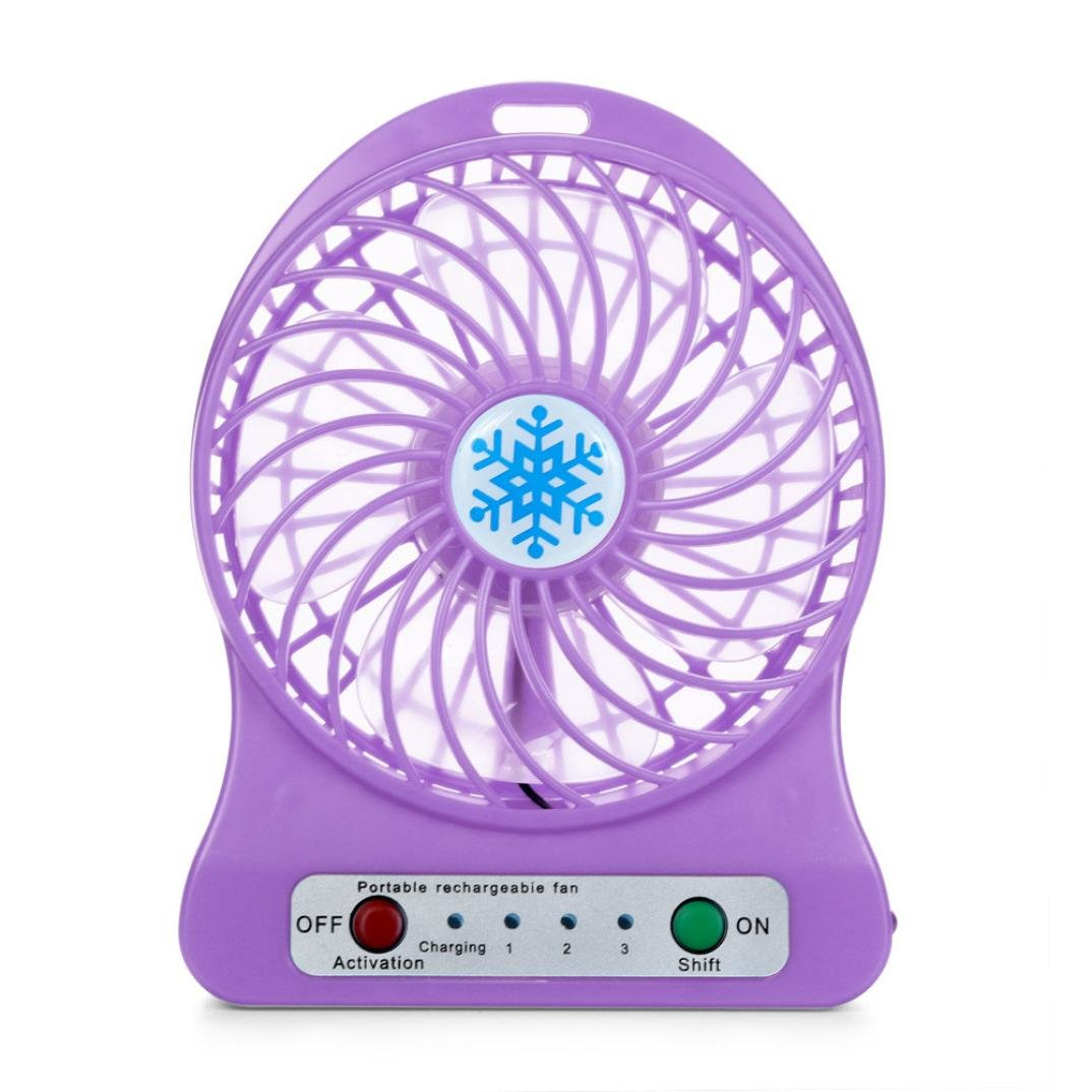 FNKDOR Portable Rechargeable LED Light Fan Air Cooler Mini Desk USB 18650 Batterie Ventilateur (orange)