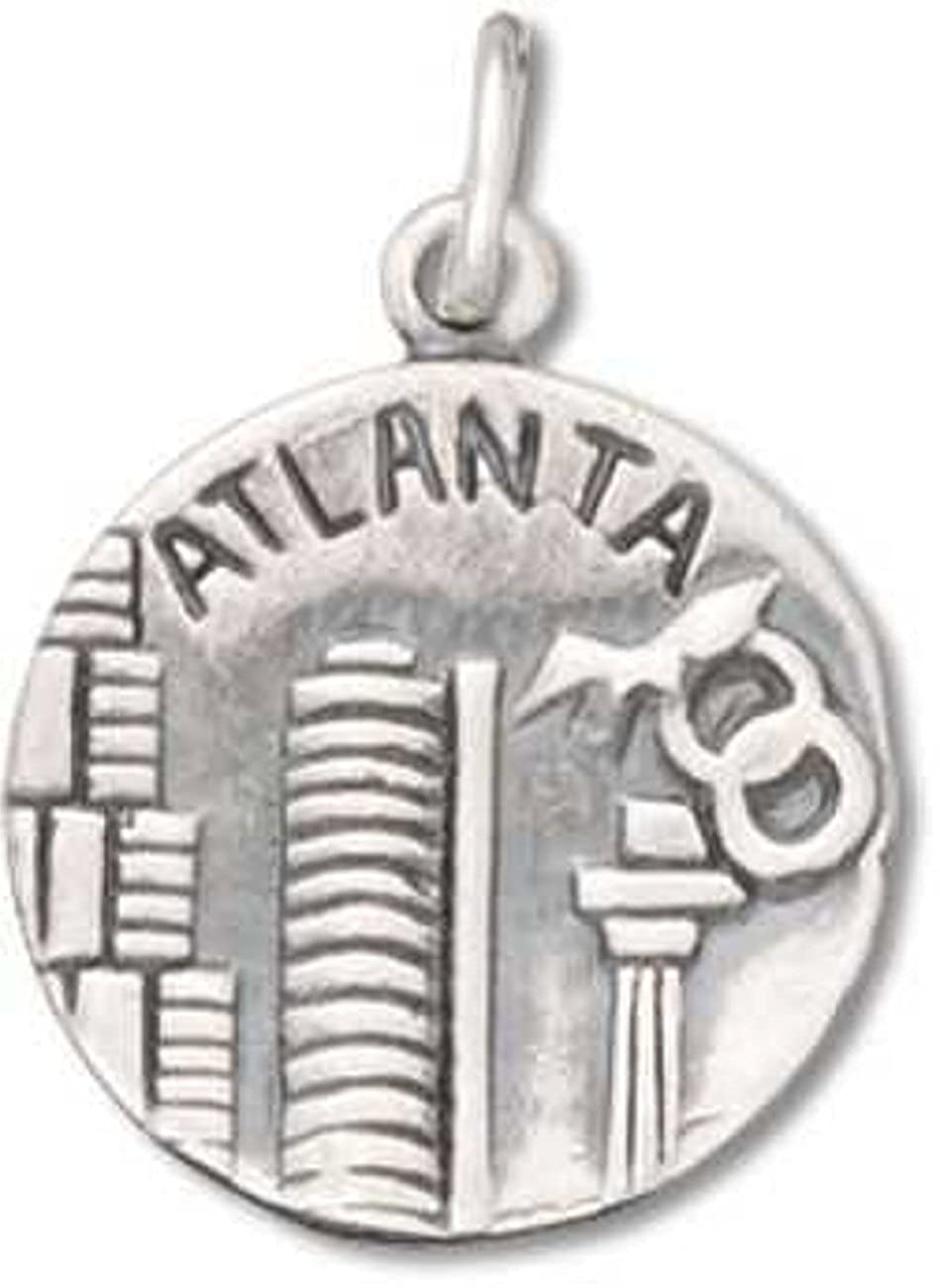 Sterling Silver 7 4.5mm Charm Bracelet With Attached City Of Atlanta The BigA Two Sided Charm