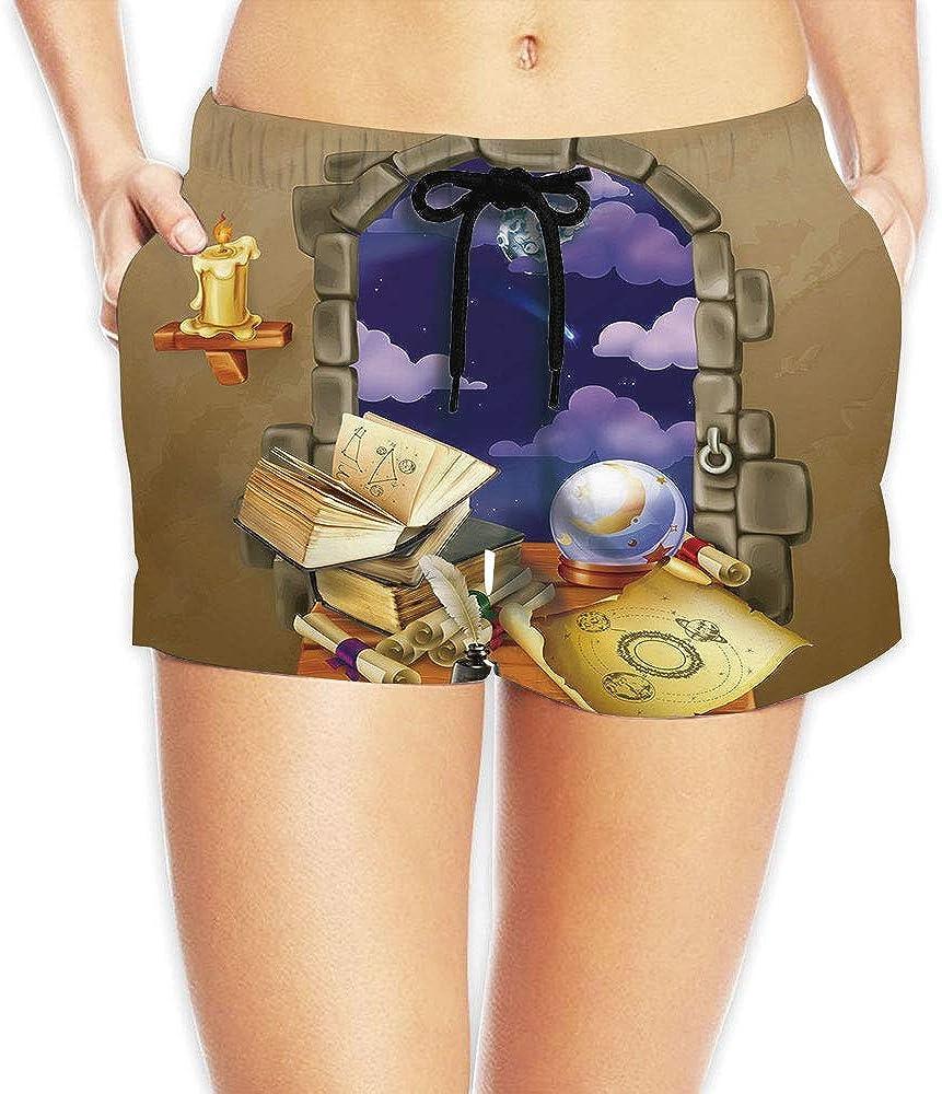 C COABALLA Womens Astrology,Astrological Wheel Casual Beach Short Pants No-20688