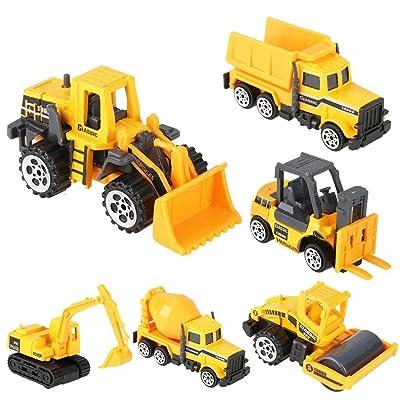 GLOGLOW 6pcs Kids Alloy & Plastic Engineering Car Dump Trunk Toy Mini Construction Vehicle Model, Birthday Gift for Toddler Children: Toys & Games [5Bkhe0402271]