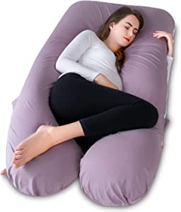Meiz Pregnancy Body Pillow - U Shaped - Pregnancy Pillow with Cooling Jersey Cover - Full Body Maternity Pillow for Sleeping, Purple