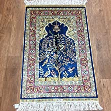 Yilong Carpet 2' x 3' Small Hand Knotted Silk Rug Handmade Persian Carpet Prayer Rug Oriental Traditional Tapestry (Navy Blue) WK91A2x3