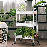 3-Tier Utility Rolling Cart with Large Storage and