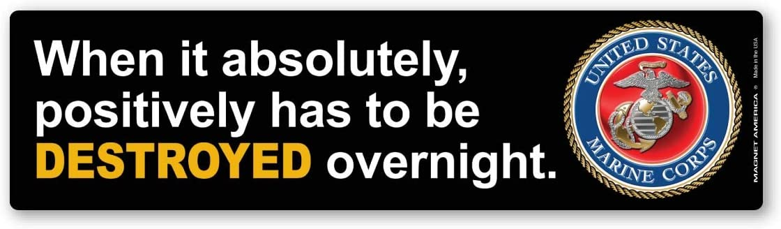 When It Has to Be Destroyed Overnight Bumper Strip Magnet Yellow