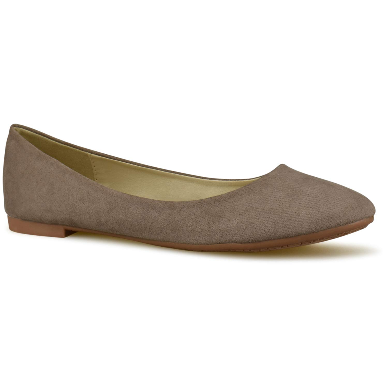 1440bb4fc5c52 Amazon.com | Premier Standard Women's Classic Round Toe Ballerina Walking  Slip on Suede Flats - Comfortable Closed Toe Ballet | Shoes