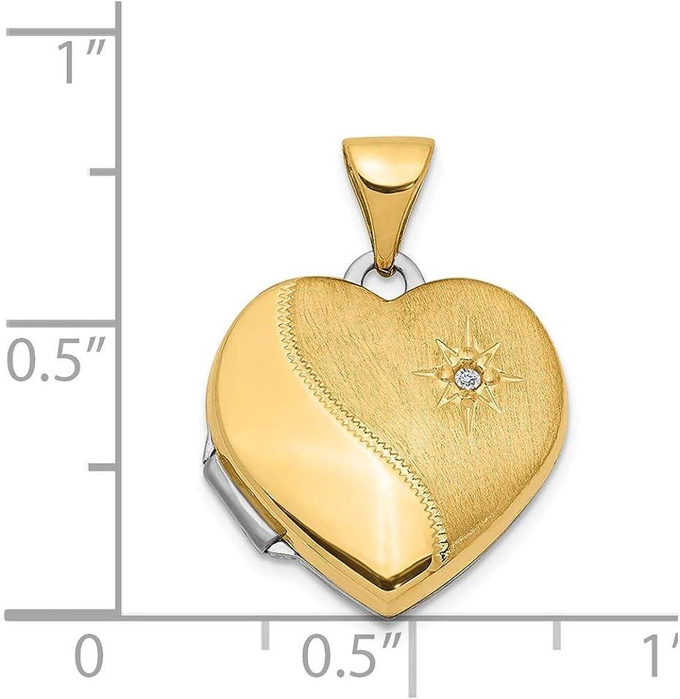 14K Two-Tone Gold Charm Pendant Diamond 15Mm Reversible Heart Locket