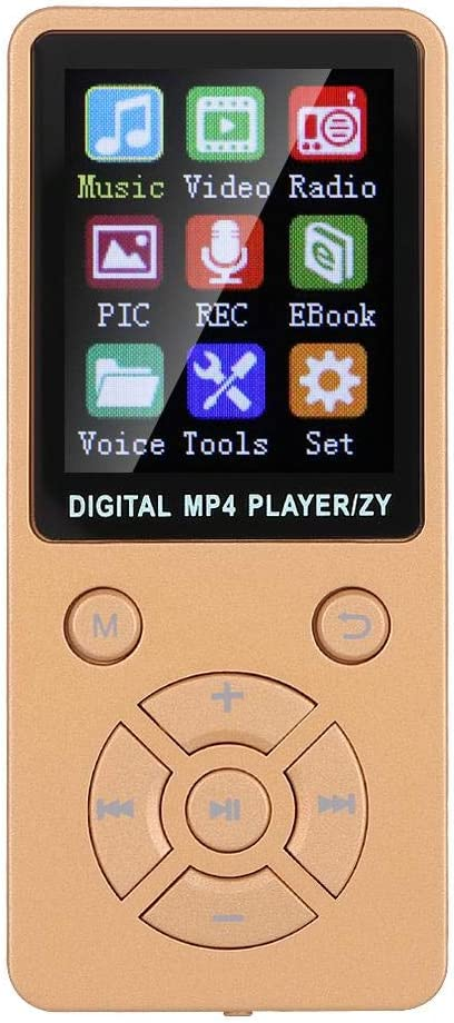MP3 MP4 Player T1 Portable 1.8 Inches HiFi Stereo Sound MP3 Music Player 8GB Bluetooth 4.2 Audio Video MP3 MP4 Player E-book Reader Rose Gold Support 32G Memory Card Eight-Diagram Tactics Buttons