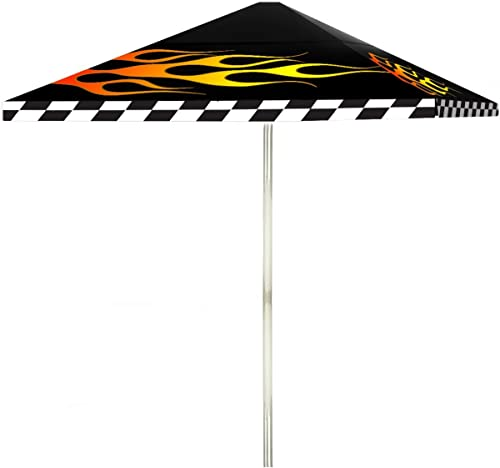 Best of Times 1020W1433 Racing Flames 8 ft Tall Square Market Umbrella, One Size, Black red White