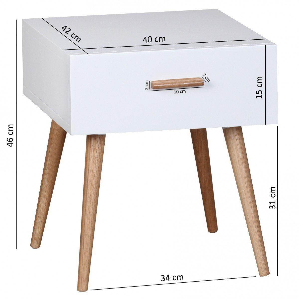 Design Table de Nuit Scandinave Table dappoint Chambre /à Coucher FineBuy Table de Chevet Retro Bois Blanc 40 x 46 x 42 cm avec tiroir