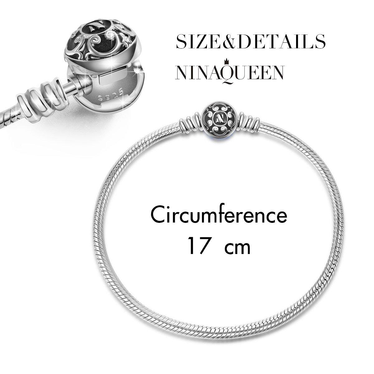 NINAQUEEN PU & 925 Sterling Silver Charm Bracelet Nickel-free 19cm ZXG3KyKWZ