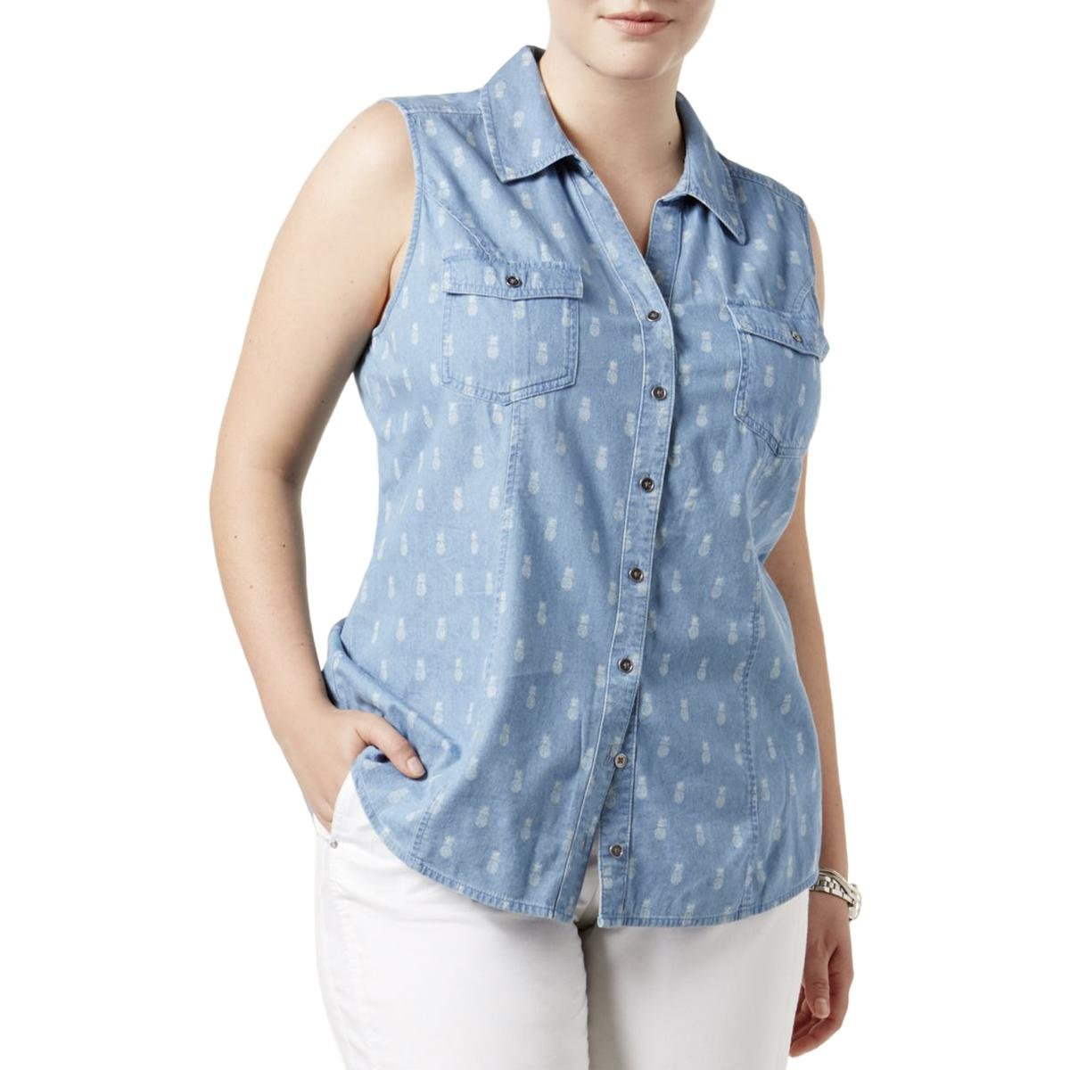 Style & Co.. Womens Plus Printed Collar Button-Down Top Blue 1X