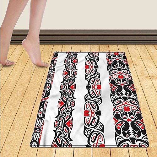 smllmoonDecor Fleur De Lis Bath Mats for floors Ancestral Vintage Motif Pattern Classical Ornaments Victorian Inspired Door Mat indoors Bathroom Mats Non Slip 20
