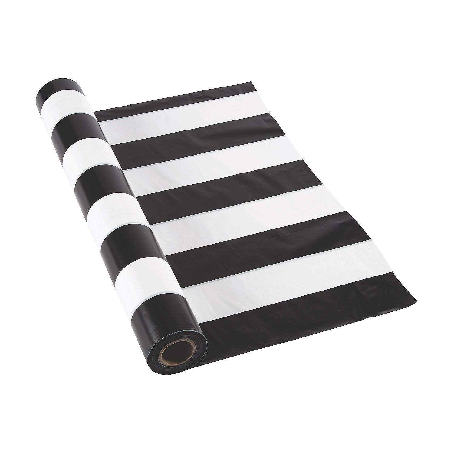 Black and White Striped Tablecloth Roll (100 ft) by Fun Express