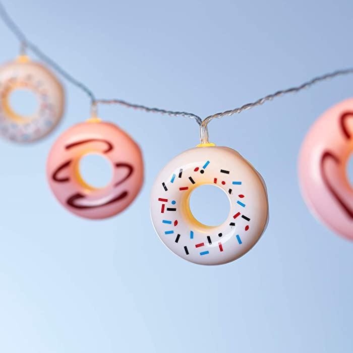 Lights4fun, Inc. 10 Pink & White Donut Battery Operated LED Indoor Party String Lights