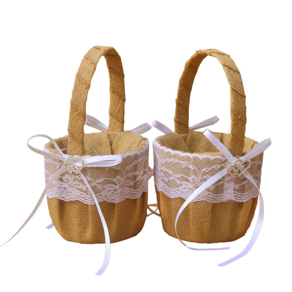 Dzty 2pcs Double Heart Burlap Wedding Flower Girl Basket with Bowknot Rustic Flower Girl Basket...
