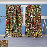 SCOCICI1588 Room Darkening Window Curtains,Doodles Style Art Bingo Excitement Checkers King Tambourine Vegas Back Tab,Set of Two Panels 108''W By 84''L Pair