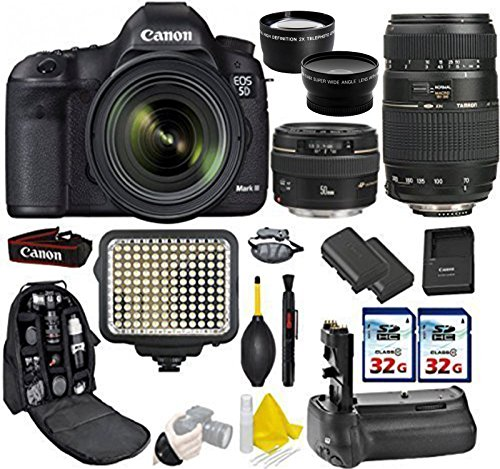 Canon EOS 5D Mark III DSLR Camera + Canon 50mm f/1.4 USM + Tamron 70-300mm + Kit Includes, 0.43X Wide Angle Lens + 2.2x Telephoto Lens + 2Pcs 32GB Commander MemoryCard + Battery Grip + Extra Battery - 6pc Multi Memory Card Holder