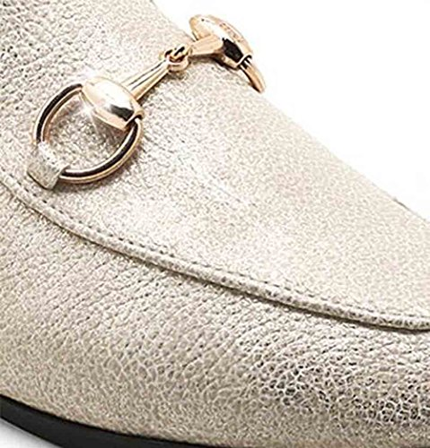 Easemax Trendy Trendy Strand Metalen Gespen Vierkante Neus Zonder Sluiting Platte Slipper Sandalen Beige