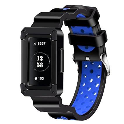 Moretek Replacement Band Compatible for Charge 3 Watch, Silicone Sport  Rugged Protective Frame Case Bands Strap for Fitbit Charge 3 Tracker  Smartwatch
