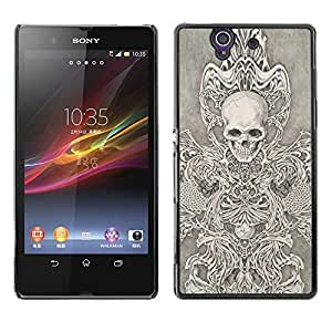 LECELL--Funda protectora / Cubierta / Piel For Sony Xperia Z L36H C6602 C6603 C6606 C6616 -- Angel Death White Black Sketch Skull --