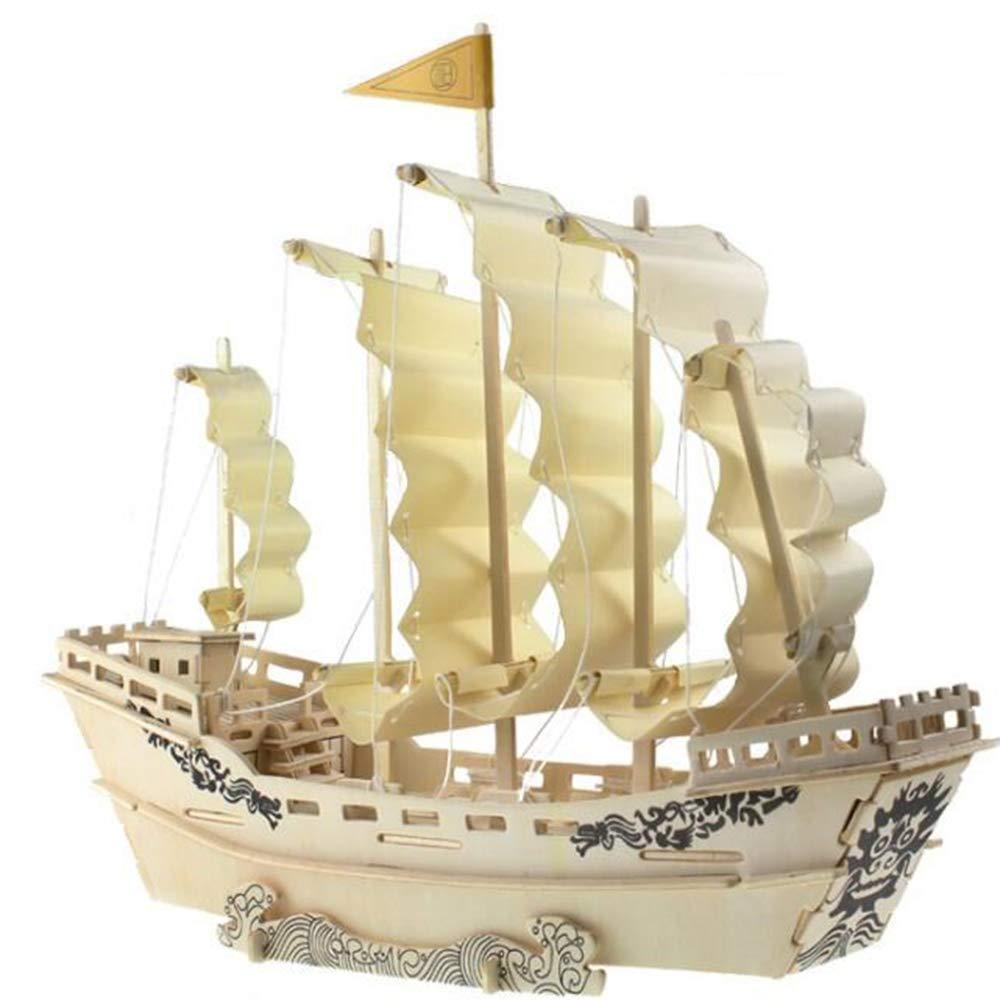 ZHAOJIANHUI Simulazione Ancient Times Barca a Vela Modello 3D Puzzle in Legno Tridimensionale Giocattoli per Bambini Puzzle in Legno Fatti a Mano Fai da Te