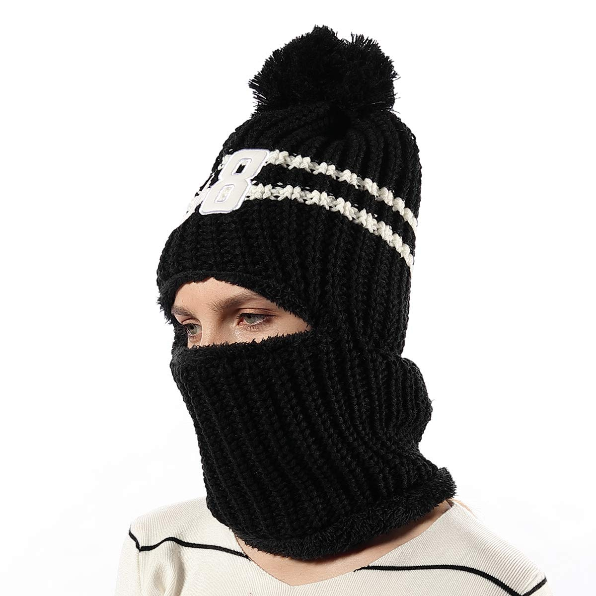 6ad784c7560 Amazon.com  Warm Knitted Fleece Balaclava Beanie Hat for Women Girls Kids  Windproof Ski Face Mask Winter Hats Outdoor Sports Neck Cover  Clothing