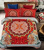 Boho Duvet Cover Set With Additional Flat Sheet Full Size 4-Piece Microfiber Bedding Set 3D Bohemian Pattern Zipper Closure Comfortable Bedclothes