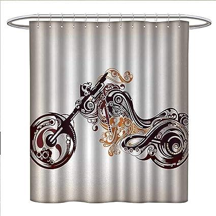 Anniutwo Manly Shower Curtains Digital Printing Motorbike Shape With Curvy Lines Floral Ornamental Design Artwork Bathroom
