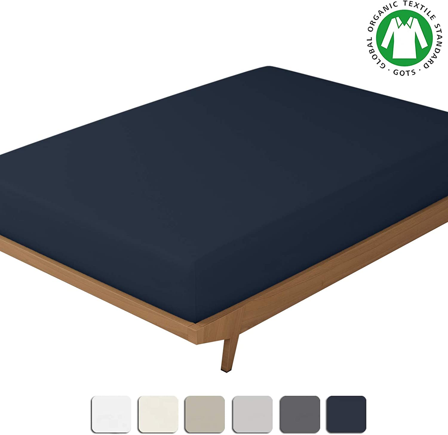 BIOWEAVES 100% Organic Cotton 1 Fitted Sheet Only, 300 Thread Count Soft Sateen Weave GOTS Certified with deep Pockets (Queen, Navy Blue)