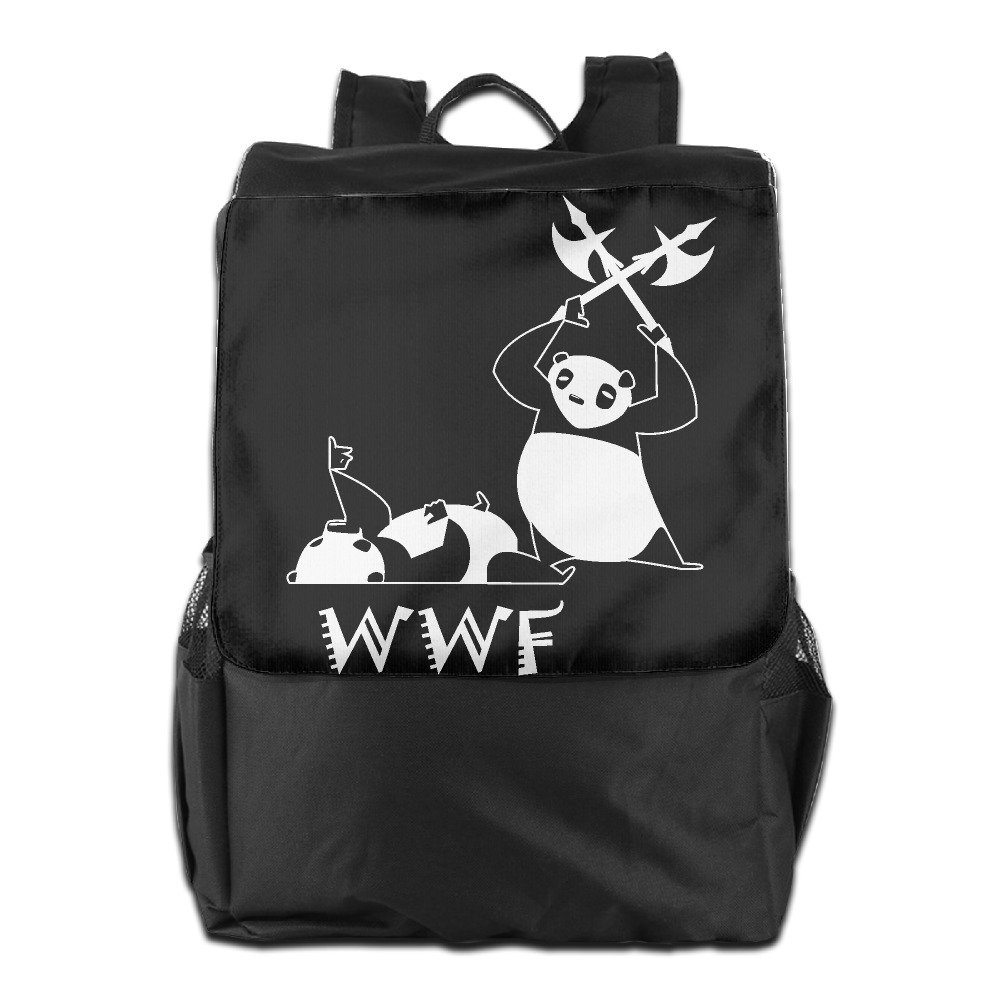 Outdoor Men And Women Travel Backpack Painting The Picture On The Backpack Angry Panda Bear Wrestling