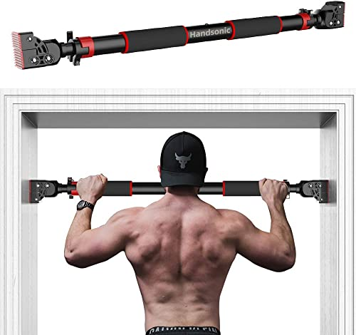 HANDSONIC Pull Up Bar for Doorway, No Screws Required Chin Up Bar Adjustable Dip Bars for Home Gym Exercise Fitness Up to 440 LBS