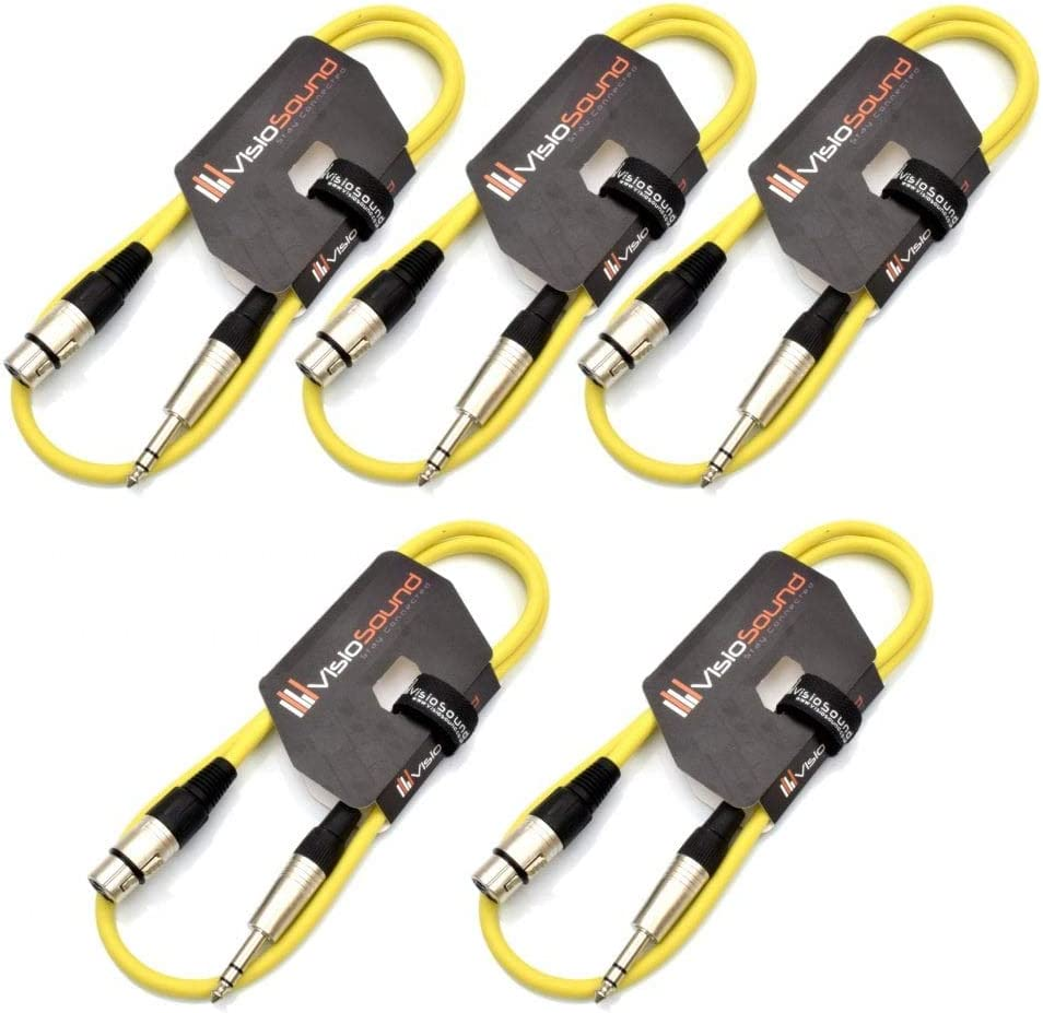 Blue, 0.5m, Pack of 5 5 x Female XLR to 6.35mm Stereo TRS Jack Lead//Balanced Signal//Audio Patch Cable