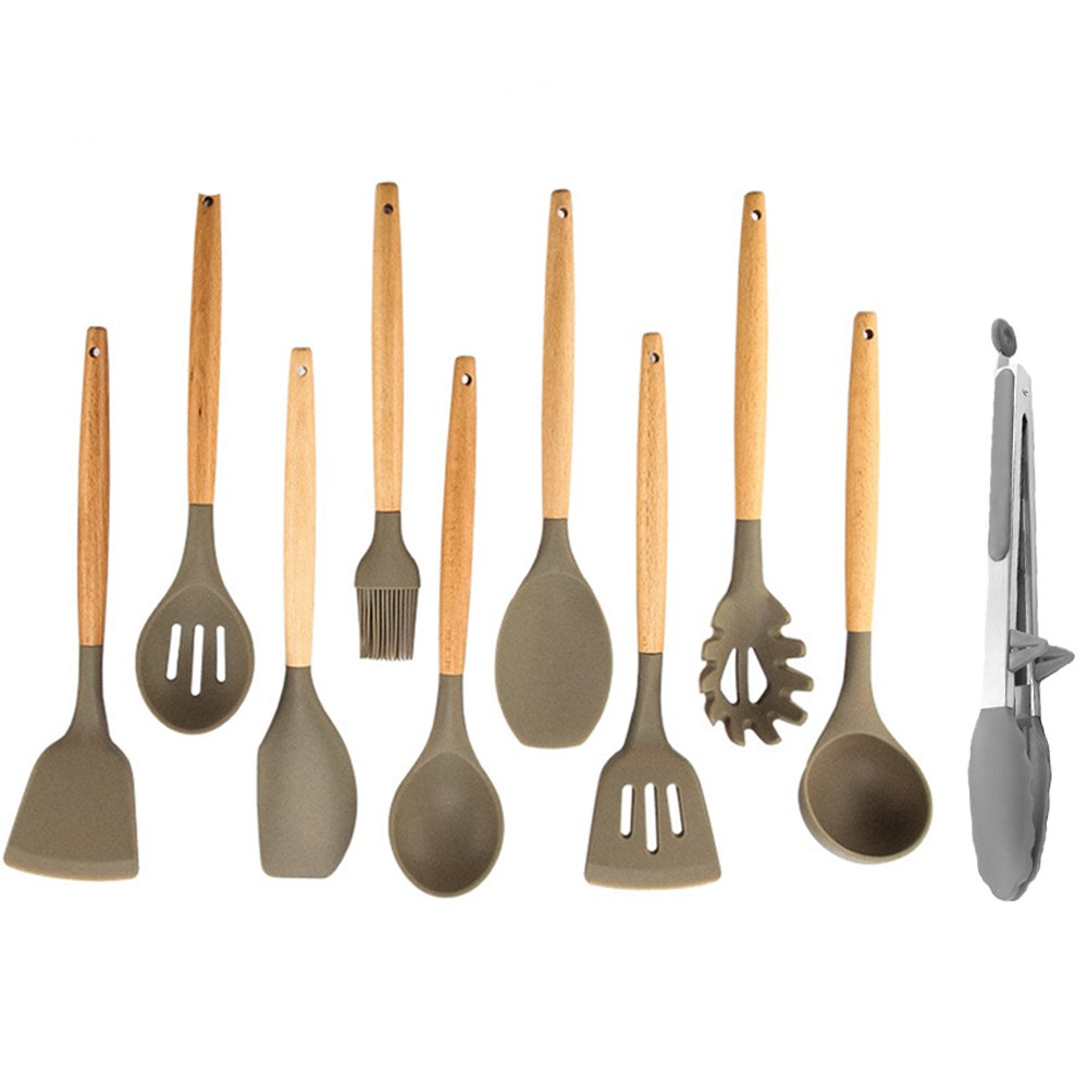 10 Pieces Silicone Cooking Utensil Set Home Kitchen Utensils Wood Cooking Utensils set for Nonstick Cookware