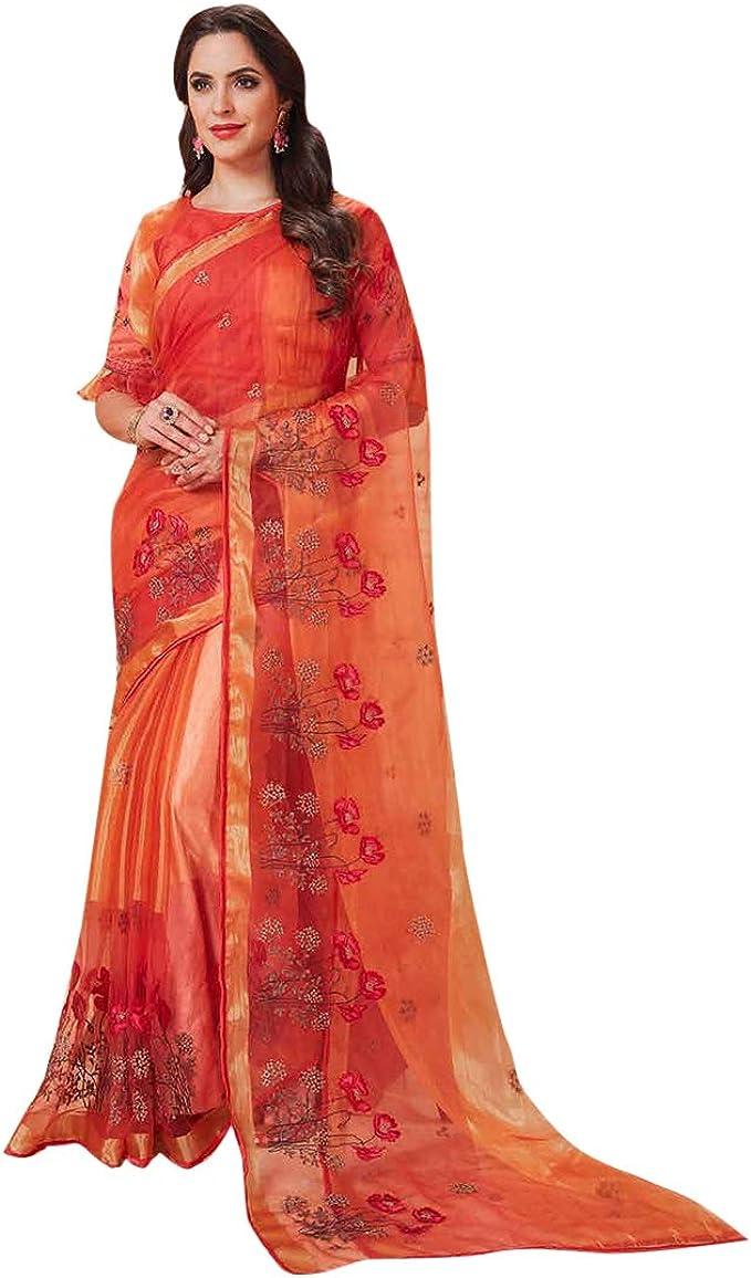 Orange Pure Cotton New Indian Designer Readymade Blouse For Women Wear Saree Blouse Choli Top Tunic Wedding Wear,Festive Wear,Party Wear