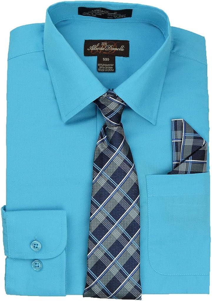 Alberto Danelli Boys Long Sleeve Dress Shirt with Matching Tie and Handkerchief