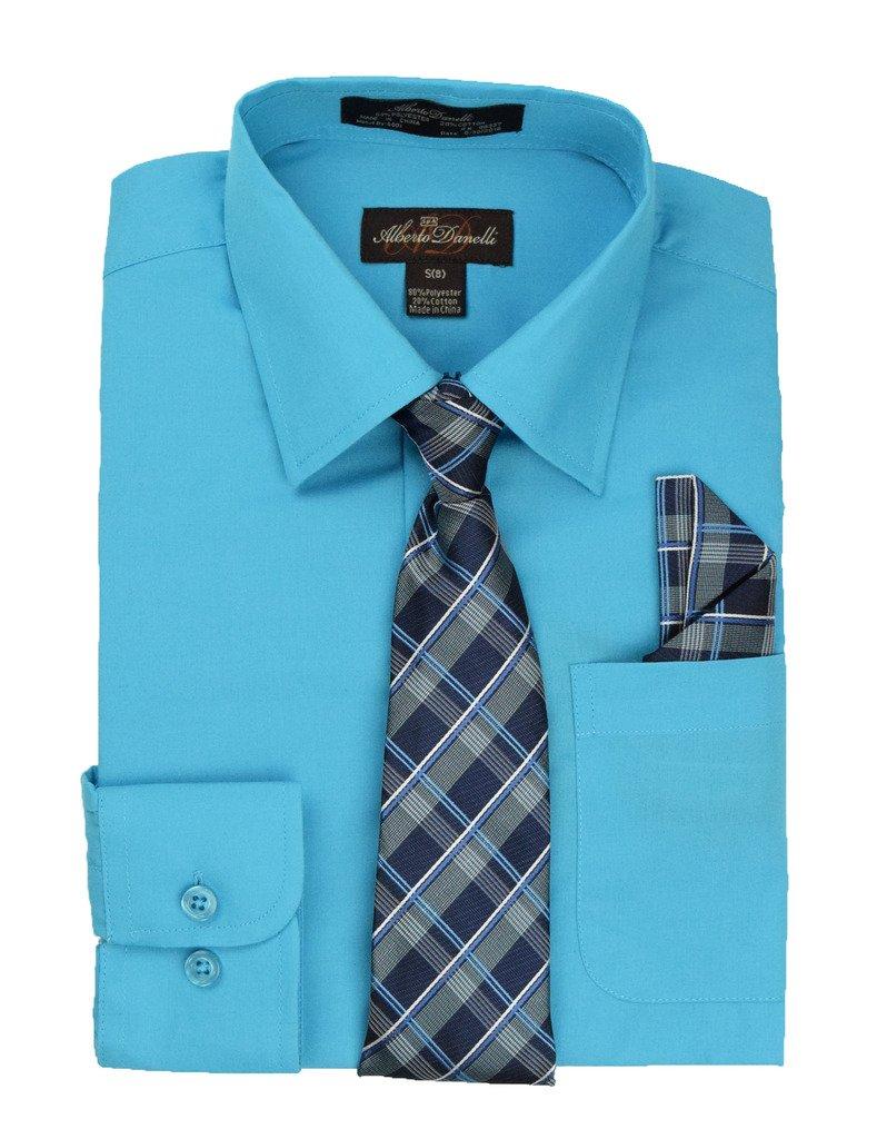 Alberto Danelli's Boys Long Sleeve Dress Shirt with Matching Tie and Handkerchief, 10/12, Tropicana