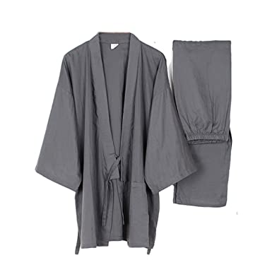 60ad313b02 Men s Japanese Style Robes Thin Kimono Pajamas Suit Meditation Set-Gray-Size  M