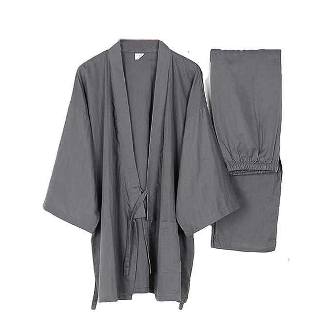 Fancy Pumpkin Trajes de Estilo japonés para Hombre de algodón Puro Kimono Pijama Traje Gris