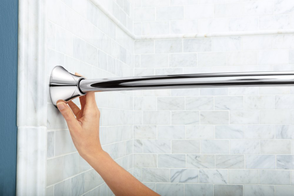 Amazon.com: Moen CSR2172CH Adjustable Tension Curved Shower Rod ...