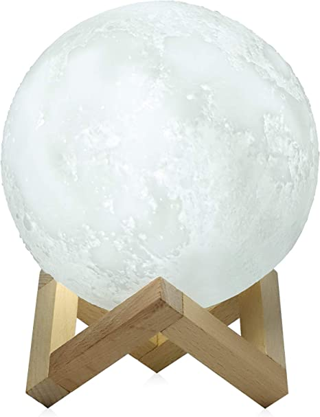 5 9 Inch Luna Moon Lampada Night Light 3d Touch Sensor Led Lampada Da Comodino Dimmerabile Baby Nursery Lamp Ricaricabile Battery Operated Lampade Da Tavolo Per Kid Bedroom Novita Lights Best Christma Amazon It