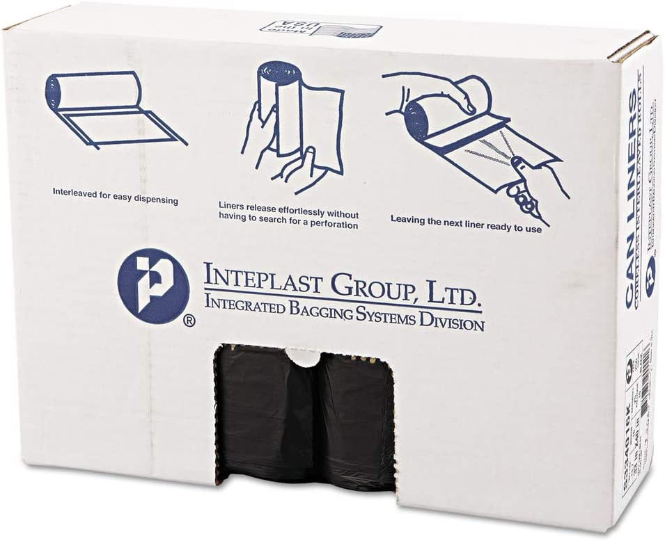 33 x 40 16 Microns Pack of 250 Liners Black Inteplast HDPE Can Liners