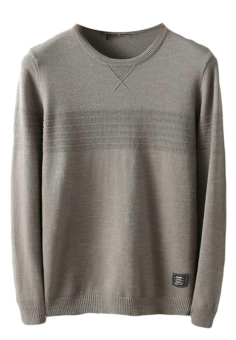 Lutratocro Men Solid Long Sleeve Knit Autumn Winter Crew-Neck Sweater Pullover Tops