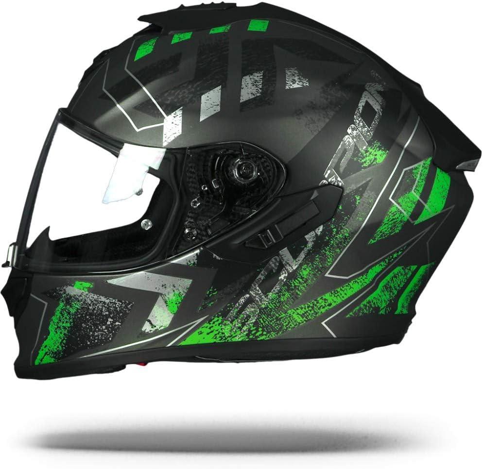 XS Noir//Vert SCORPION Casque moto EXO 1400 AIR Picta Argent mat Vert