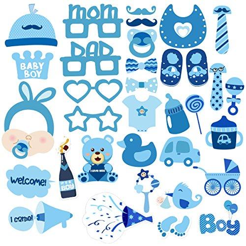 BESTOYARD Baby Boy Shower Photo Props Baby Birthday Party Photo Posing Props Kits 34 Pcs -