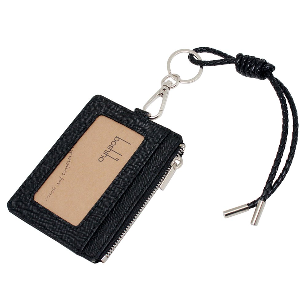 Boshiho Saffiano Leather Credit Card Holder Coin Change Purse with Key Ring Keychain (Black with Strap)
