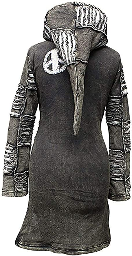 Patchwork Acid wash Women Pointy Hooded Slashed Layered Emo Goth Ladies Jacket