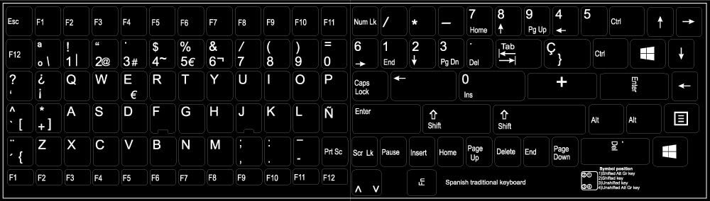 REPLACEMENT SPANISH KEYBOARD STICKER BLACK BACKGROUND