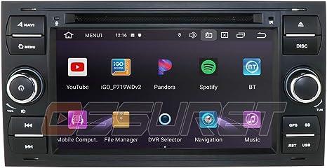 Android 10 Car GPS Navigation Bluetooth Radio de Coche con Pantalla de 7 Pulgadas Se Adapta a Ford Focus C-MAX Transit Mondeo Fusion Soporte Radio de Control del Volante (Negro): Amazon.es: Electrónica