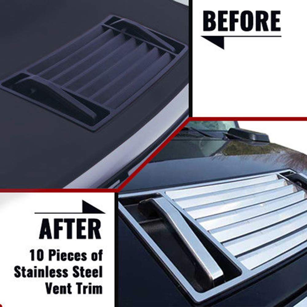 Upgrade Your Auto 10p Luxury FX Chrome Hood Vent Cover and Handle Trim for 03-09 Hummer H2