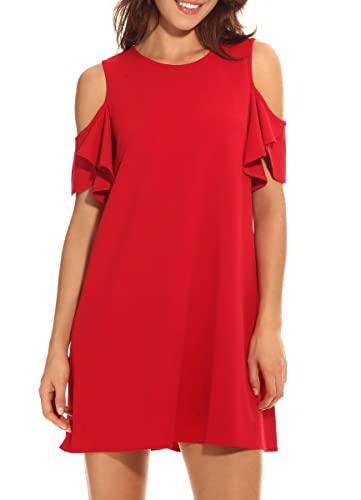 PrinStory Women's Summer Cold Shoulder Ruffle Sleeves Shift Dress
